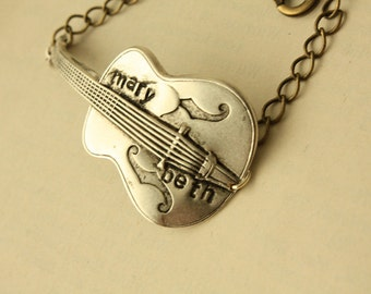 1 Silver Personalized Guitar BRACELET