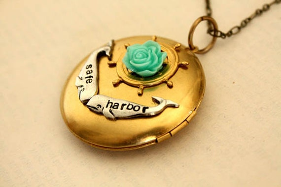 Whales LARGE Locket AQUA ROSE with Antique Brass Chain