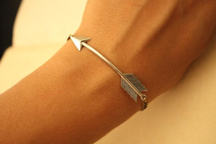 silver arrow bracelet by iadornu on etsy