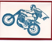 motorcycle daredevil letterpress card