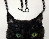 Black Cat peyote stitch necklace Pattern