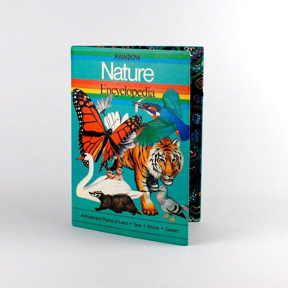 iPad Book Cover- Rainbow Nature Encyclopedia- tablet device case made from recycled vintage book