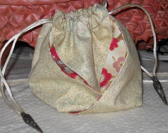 Pewter Asian Oragami Bag/Pouch  with Pinks