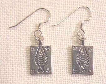 Tibet Silver Fish Imprint Earrings