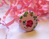 Vintage Inspired Fabric Button Ring