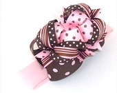 Pink and Brown Polka Dot Boutique Headband Hair Bow Baby Toddler Girl