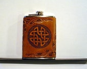 Hand-Tooled Leather Flask - Celtic Knot Design - 8oz - SCA  LARP