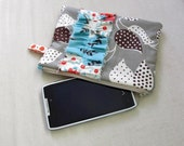 LITTLE zipper pouch. Gray & Blue smart phone wallet (padded) -Ready To Ship.