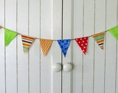 Circus / Carnival Birthday Party Mini Bunting decoration. Fabric sewn flag banner on jute. Photo prop.