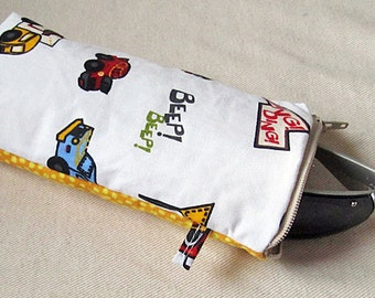 sunglasses case, eyeglass case, kids bag, padded sunglass zipper pouch, Cars, trucks, automobiles, yellow polka dot, clearance, toy bag