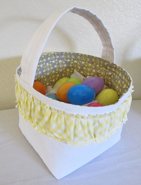 Every day storage Faric basket.  Yellow Gingham front. Toy or diaper box. White Canvas