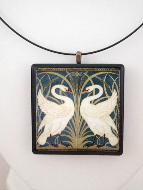 William Morris 'Swan, Rush and Iris' print tile pendant necklace