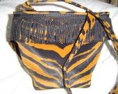 OOAK Shoulder Bag in Black and Brown Zebra Faux-suede with black bullion trim (2026)