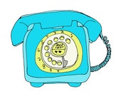 Telephone Blue 5x5 Quirky Illustration Print