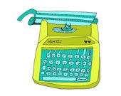 Olivetti Green 5x5 Quirky Illustration Print