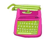 Olivetti Pink 5x5 Quirky Illustration Print