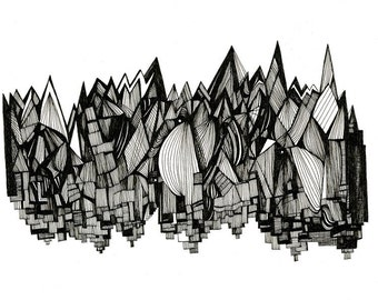 Buildings and Icicles 8x10 Abstract Fine Art Archival Print of Original Pen and Ink Drawing