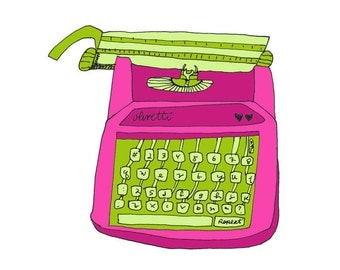 Olivetti Pink 5x5 Quirky Illustration Print