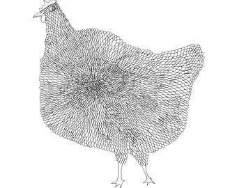 The Chicken 8x10 Fine Art Archival Print of Original Pen and Ink Drawing