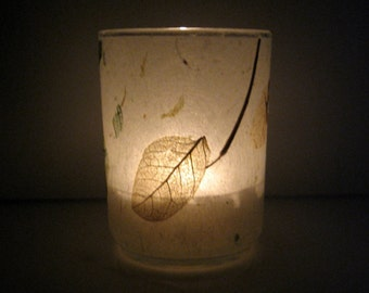 Scattered Raintree Leaves Earth Light - botanical, candle, candle holder, leaves, woodland, natural, handmade paper, home decor, ooak, gift