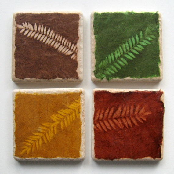 RESERVED for trintytung only - Sun Washed Ferns Earth Coasters