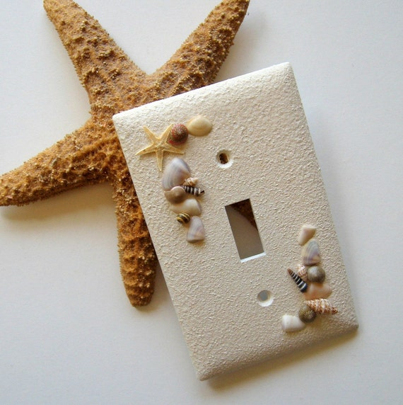 RESERVED for blang0702 only - White Beachcomber Single Switch Plate - beach, ocean, seashells, sand, starfish, summer, natural, home, ooak