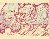 Hippos letterpress linocut