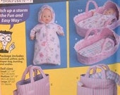 Simplicity 5554 EASY Doll Layette - Bassinet, Pillow, Quilt, Diaper Bag, Bunting, Shirt and Undies in three sizes