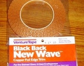 36 yard roll of New Wave - Wavy Edge Copper Foil BLACK BACK Tape for Solder Art Pendants Charms etc. A Decorative Scalloped Edge