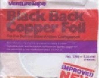 Solder Art. BLACK BACK 3/8  Inch Wide Copper Foil Adhesive Back Tape - Venture 36 yard roll