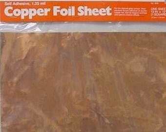 4 Pack of SHEET COPPER FOIL each 12 x 12 inch - Adhesive Backed for making Nuggets or Bubble jewelry pendants. Cut's easily.