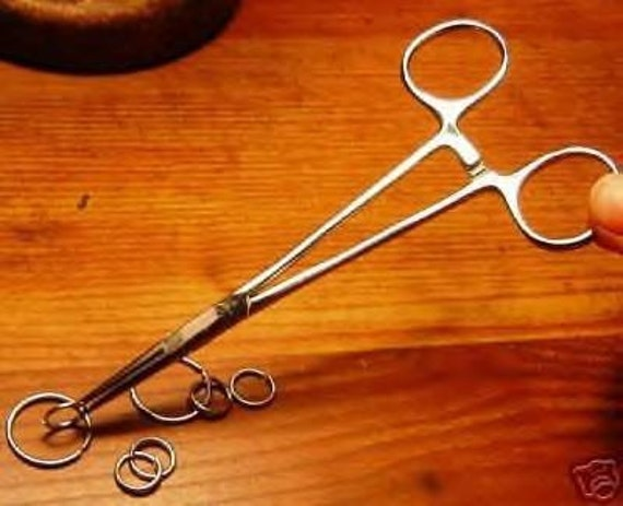 Jewelry - Hemostat - Locking Tweezers 5 inch long - For Hot Jump Ring Soldering save fingers