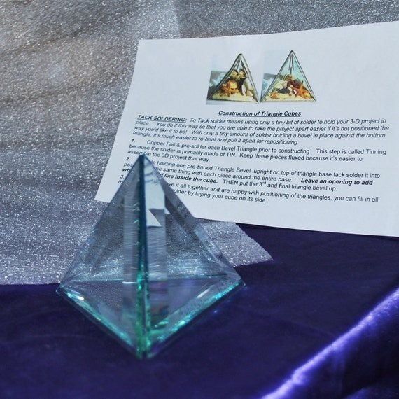 4 Inch Triangles (4 pack) to make 3-D Memory or BEACH CUBE... Clear Glass Bevels Flat On Back (also good for Soldered Collage Pieces)