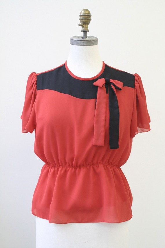 red and black reconstructed vintage top M/L ON SALE
