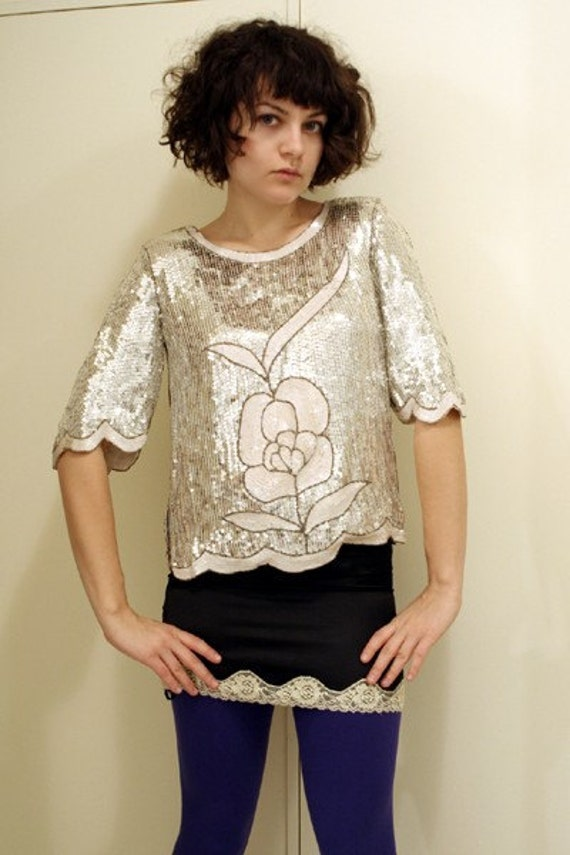 Vintage authentic silver and white sequined top from the 1960s
