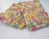 Cotton Crochet Sponge Set , multi color , triple layer thick , reusable alternative to sponge or dishcloth