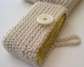 Travel Tissue Holder - Tissue Cosy cream side opening, cell phone, Kleenex carrier, card holder