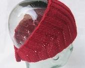 Wool Head Wrap Cherry Red - Calorimetry headwrap , headband , ski headwear, ear warmer