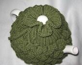 Tea pot Cozy - Teapot Cozy Crocodile stitch in leaf green wool