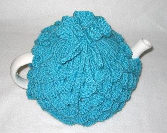 Teapot Cozy Tea pot cozy, tea accessories wool cozy Crocodile stitch - large in aqua wool