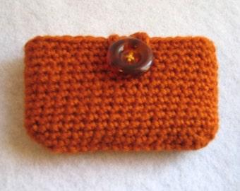 Travel Tissue Holder, Orange side opening, cell phone, Kleenex carrier, tissue cosie