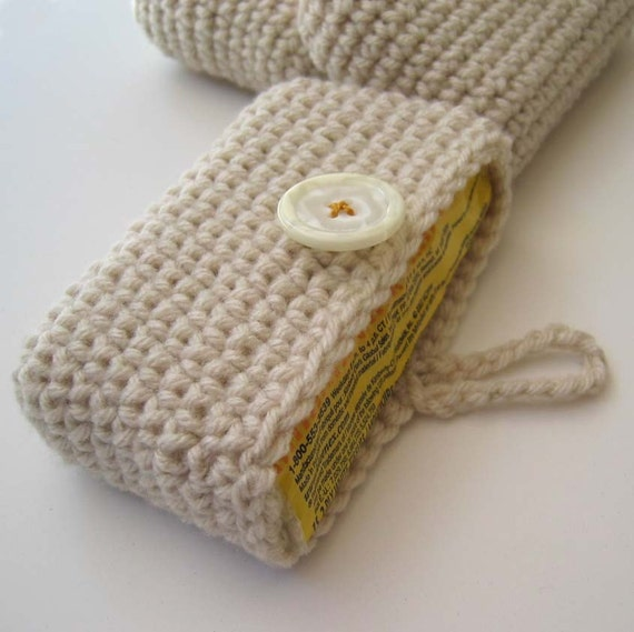 Travel Tissue Holder - Tissue Cosy cream side opening, cell phone, Kleenex carrier, card holder