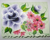 Hand Painted Card - Dioxazine Purple Roses and Red Flowers - No. 545