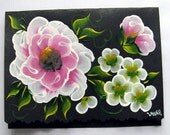 Hand Painted Card - Pink and White Flowers - No. 549