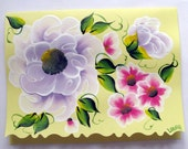 Hand Painted Card - Periwinkle and Pink Flowers - No. 550