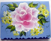 Hand Painted Card - Pink Rose and Daisies - No. 551
