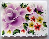 Hand Painted Card - Deep Violet Roses and Flowers - No. 555