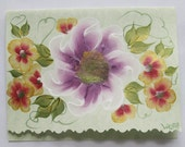 Hand Painted Card - Violet and Red Metallic Flowers - No. 562