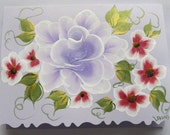 Hand Painted Card - Amethyst Metallic Rose and Red Flowers - No. 564