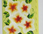 Hand Painted Card - White Flowers - No. 566